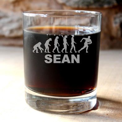 Personalised Rugby Glass Tumbler