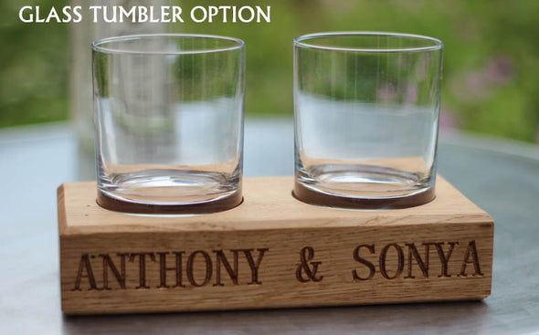 Engraved Oak Whiskey Tumbler holder (includes tumblers)