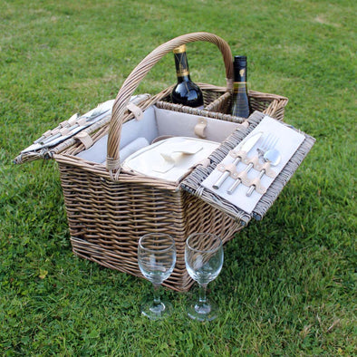 2 Person Picnic Hamper Basket with personalised wine glasses