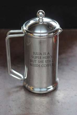 Personalised 4 cup Stainless Steel Cafetiere PLUS FREE Coffee Scoop - PersonalisedGoodies.co.uk