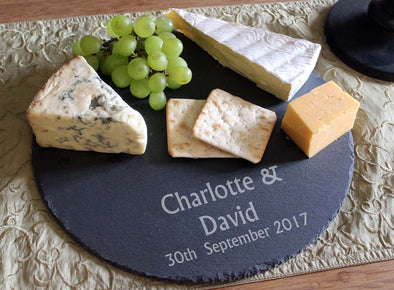 Personalised engraved slate cheeseboard