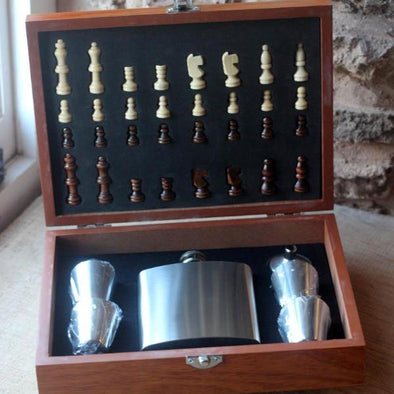 Travel Chess Set with personalised Hipflask and tumblers