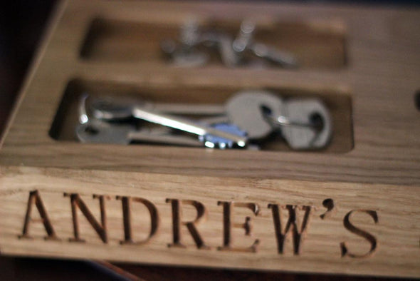 Personalised Engravged Oak Gadget Holder