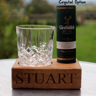 Engraved Oak Single Tumbler and Glenfiddich Whisky (includes tumbler)