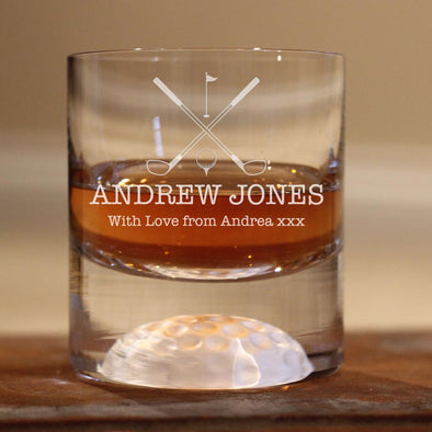 Personalised Golf Whisky Tumbler - with personalised message