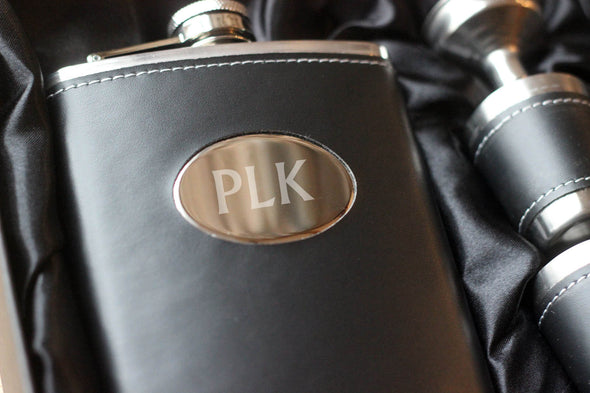 Personalised Monogram Hip Flask with tumbler and FREE Gift Box - PersonalisedGoodies.co.uk
