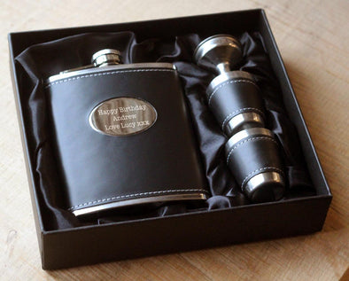 Personalised Hip Flask with tumblers funnel and FREE Gift Box