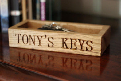 Personalised Oak Key Holder Tray