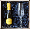 Personalised Crystal Prosecco glass with bottle of Prosecco