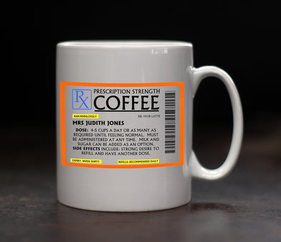 Personalised Coffee Prescription Mug - PersonalisedGoodies.co.uk