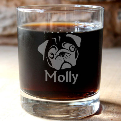 Personalised Pug Whisky Tumbler - PersonalisedGoodies.co.uk