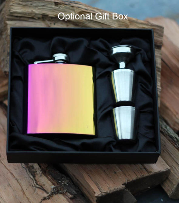 Personaliesd Rainbow steel Hip flask with optional gift box