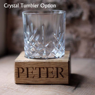 Engraved Oak Single Tumbler holder (includes tumbler)