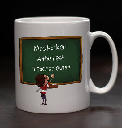 Personalised Teacher Chalkboard Mug - PersonalisedGoodies.co.uk