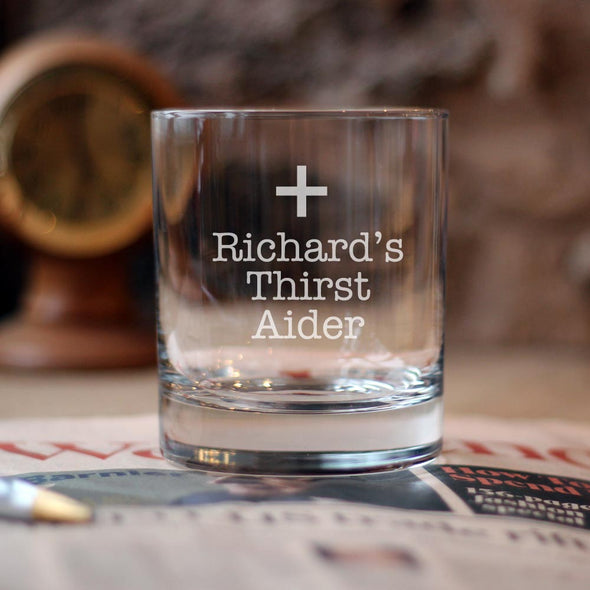 Personalised Thirst Aider Glass Tumbler