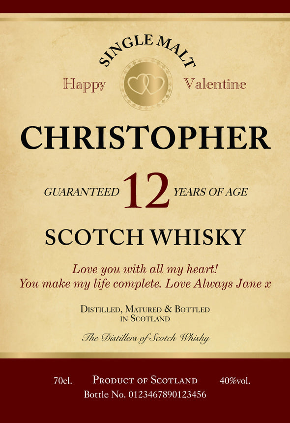 Personalised Valentine's Day 12 Yr Old Malt Whisky