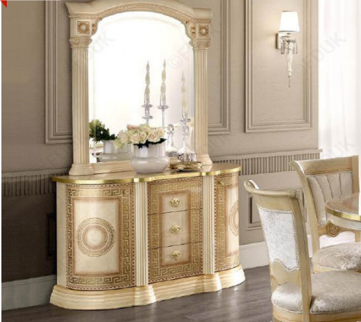Aida Ivory and Gold Italian Small Mirror - ImagineX Furniture & Interiors