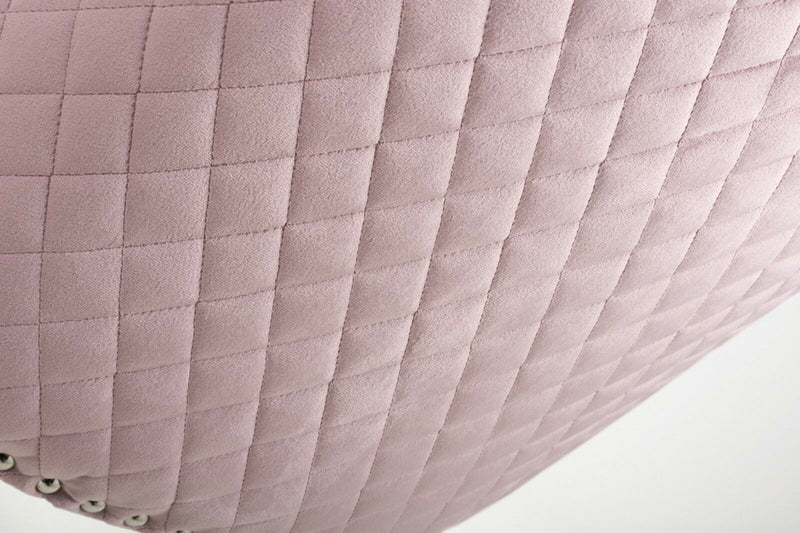 Pair Of Lion Knockerback Quilted Brushed Velvet Dining Chair - Pink - ImagineX Furniture & Interiors