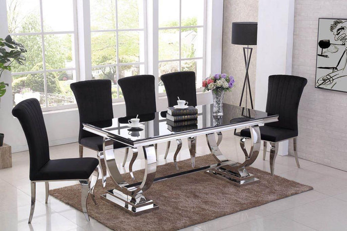 Rani Black Glass & Chrome `O` 180cm Dining Table + Renee Velvet Chairs - ImagineX Furniture & Interiors
