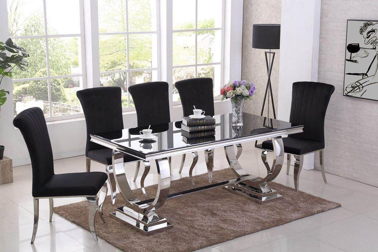 Rani Black Glass & Chrome `O` 180cm Dining Table + Renee Velvet Chairs
