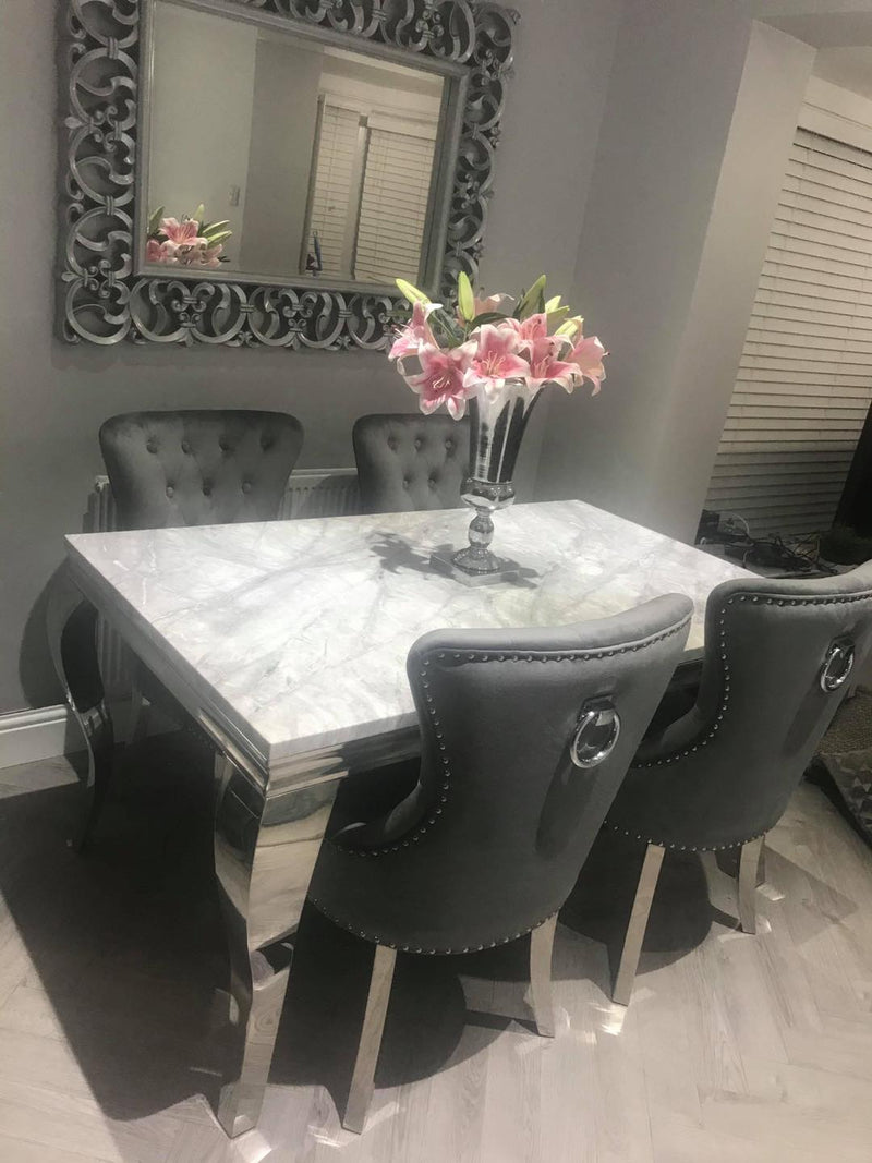 Louis 150cm Grey Marble Dining Table + Dark Grey Chrome Ring Knocker Plush Velvet Chairs