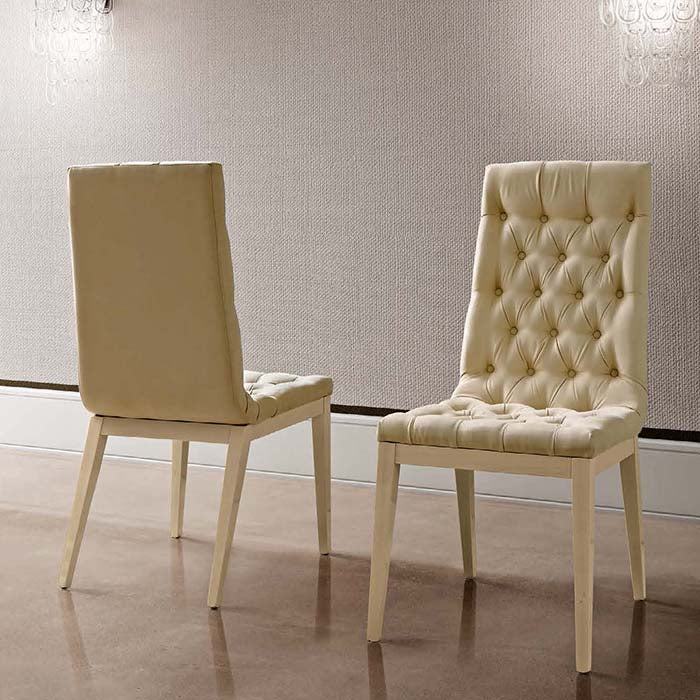 Ambra Capitonne Sand Birch Finish Leather Dining Chair