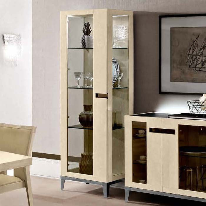 Ambra Sand Birch Finish Italian 1 Door Display Cabinet - Glass Sides