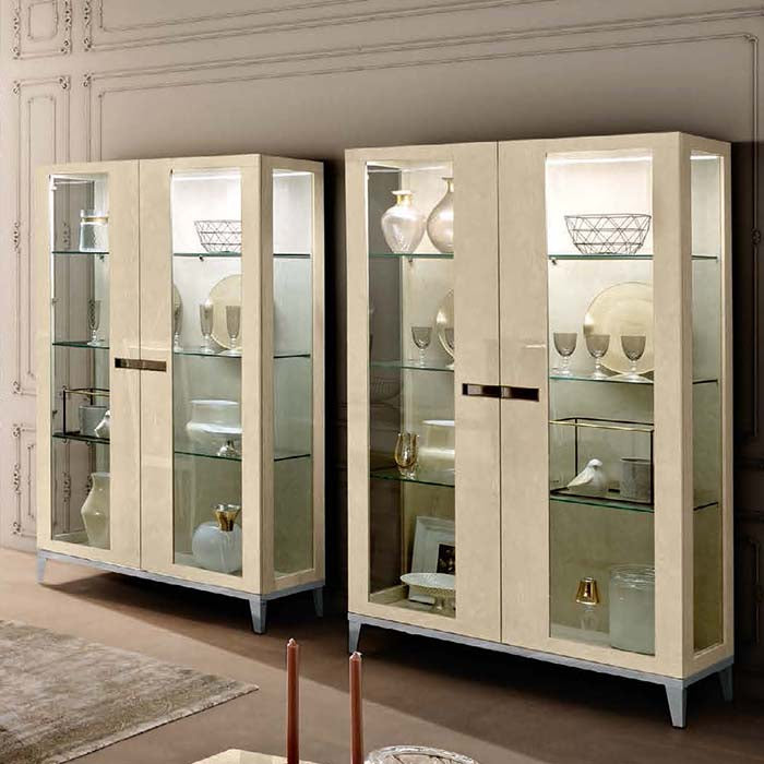 Ambra Sand Birch Finish Italian 2 Door Display Cabinet - Glass Sides