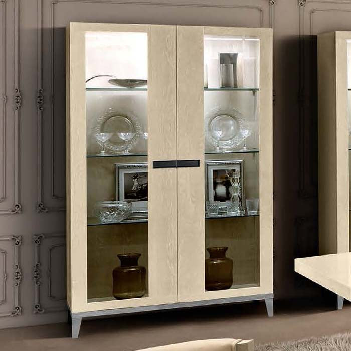 Ambra Sand Birch Finish Italian 2 Door Display Cabinet - Wooden Sides