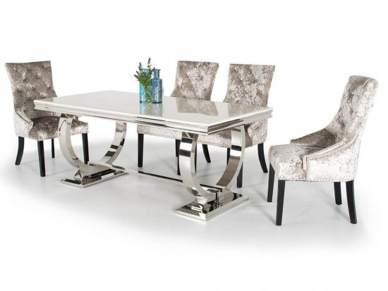 Arianna 180cm Cream Marble Dining Table + Ava Crushed Velvet Dining Chairs - ImagineX Furniture & Interiors