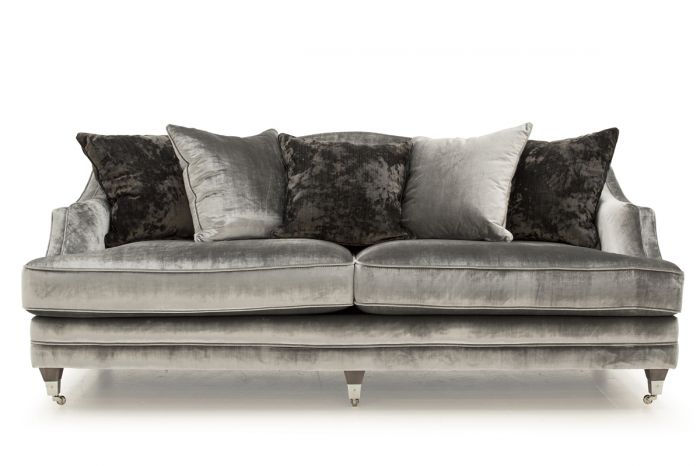 Belvedere 4 Seater Fabric Sofa with 5 Scatter Cushions - Pewter