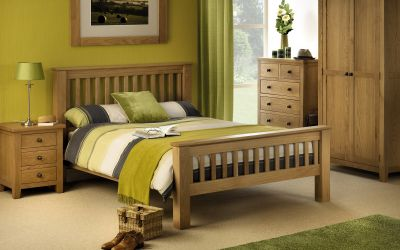 Julian Bowen Amsterdam Oak Bed - High Foot End Super King Size 6ft - ImagineX Furniture & Interiors