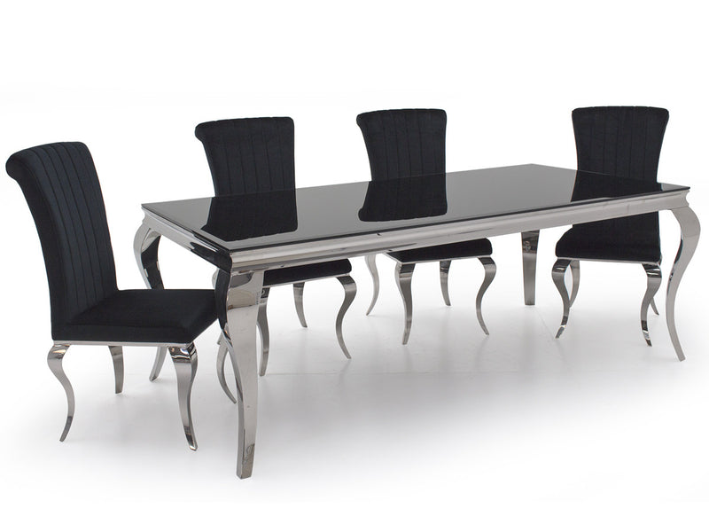 Louis Black Glass 160cm Dining Table + Nicole Black Velvet Dining Chairs - ImagineX Furniture & Interiors
