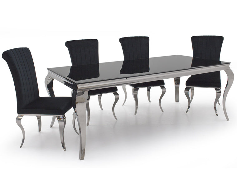 Louis Black Glass 160cm Dining Table + 4 Nicole Black Velvet Dining Chairs