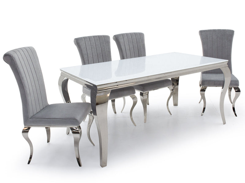 Louis White Glass 160cm Dining Table + Nicole Silver Velvet Dining Chairs - ImagineX Furniture & Interiors