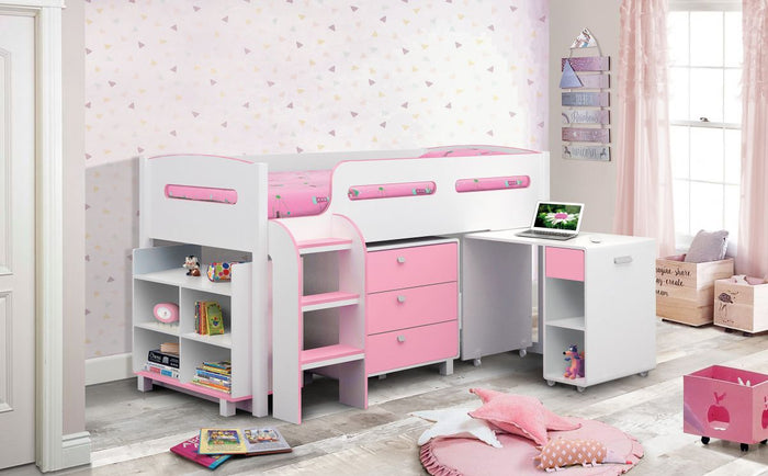 Kimbo Pink Or Blue Midi Sleeper Kids Bed + Ortho Mattress