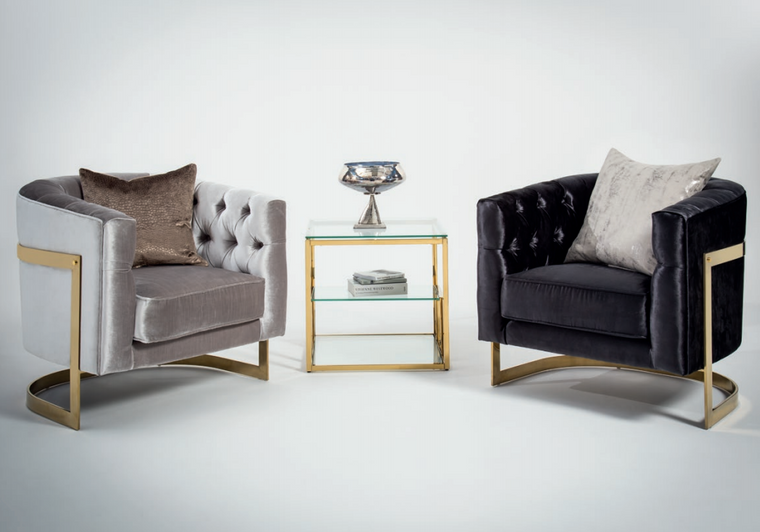 Leona Gold Stainless Steel Velvet Chair - 2 Colours