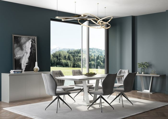 Vivaldi 160 Rect Matt Grey High Gloss Dining Table - ImagineX Furniture & Interiors
