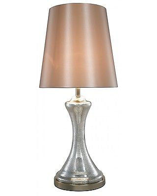 New Silver Mercury Finish Concave Lamp With 15 Inch Champagne Shade - ImagineX Furniture & Interiors