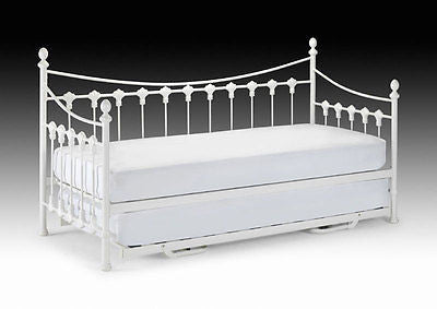 New Julian Bowen Versailles 3ft Single Stone White Metal Day Bed + Underbed Bed