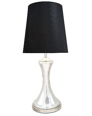 New Chrome Glass Concave Lamp With 15 Inch Black Shade