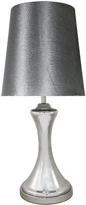New Chrome Glass Concave Lamp with 15 Inch Grey Snakeskin Shade