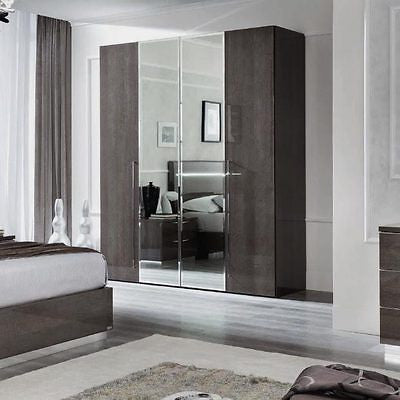 Platinum High Gloss  Silver Birch 4 Door Mirror Wardrobe