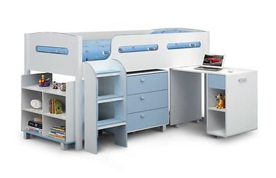 New Julian Bowen Kimbo Pink Or Blue Midi Sleeper Kids Bed + Ortho Mattress - ImagineX Furniture & Interiors