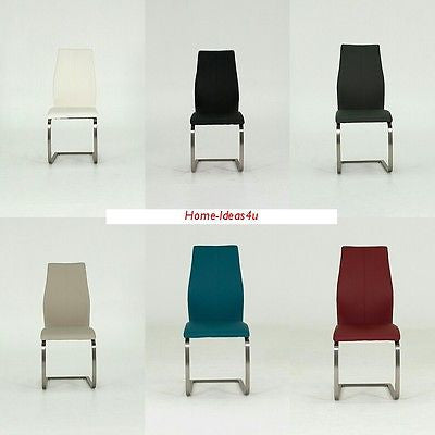 Set Of 2 Radford Faux Leather Dining Chairs In 6 Colours - Mix & Match