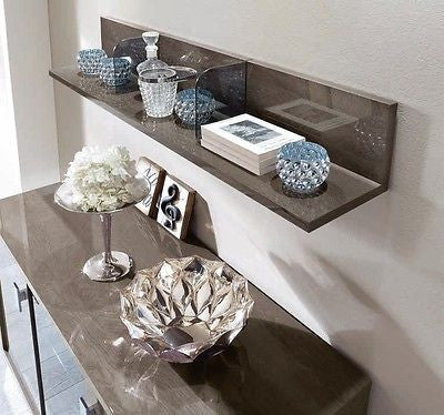 Platinum Day High Gloss Italian Shelf - L Shaped