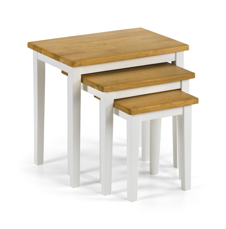 Julian Bowen Cleo Oak And White Nest of Tables Solid Rubber-wood