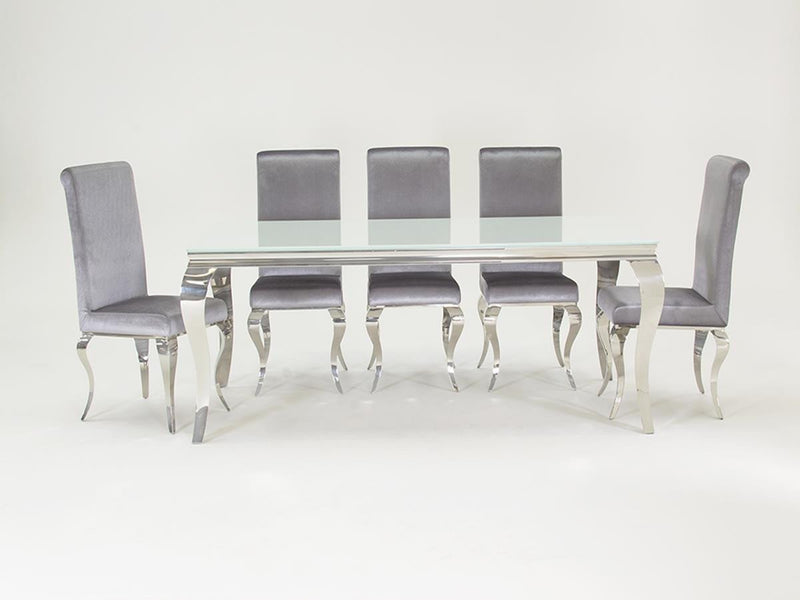 Louis White Glass 200cm Dining Table + 6 Silver Velvet Dining Chairs - ImagineX Furniture & Interiors