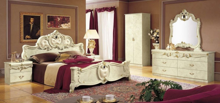 Tia Ivory Italian Bedroom Set - Full Range Available
