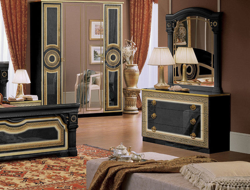 Daya Black and Gold Italian Bedroom Set - Full Range Available - ImagineX Furniture & Interiors
